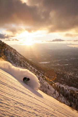 A Young Man Finds Excellent Powder in the Foothills Above Salt Lake City, Utah