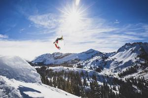 Air Time. Austin Birrer Lays Out A Double Back, Alta, Utah by Louis Arevalo