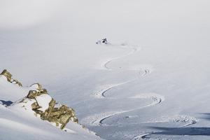 Backcountry Skier Chris Smith Paints His Line On The Northface Of Lake Peak, Wasatch Mts, Utah by Louis Arevalo