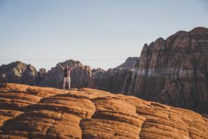 Jacki Arevalo Hiking The Petrified Sand Dunes, Snow Canyon State Park, Utah by Louis Arevalo
