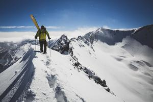 Rob Lea Booting Cardiac Ridge In The Central Wasatch Mountains, Utah by Louis Arevalo