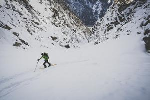 Rob Lea Hikes Up Tanner's Chute, A 3500 Foot Ski/Snowboard Couloir In The Wasatch Mountains, Utah by Louis Arevalo