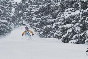 Sammy Podhurst Exploring Marble Bowl On Skis, Colorado by Louis Arevalo