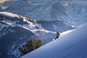 Splitboarder Zach Grant Takes In The View From Eagle Run South, Dry Fork, Wasatch Mts, Feb 2014 by Louis Arevalo