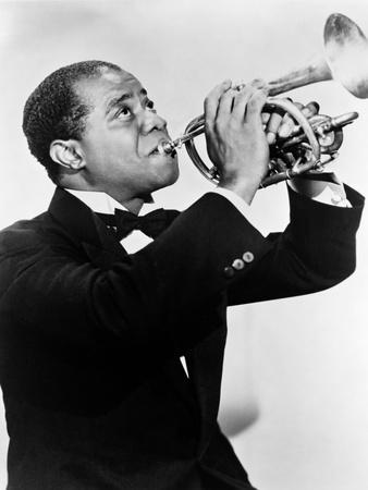 Photograph BW Music Jazz Louis Armstrong Playing Trumpet 12X16 Framed Print