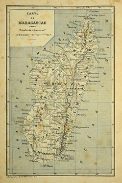 Madagascar War 1885-95, Map of Madagascar by Louis Bombled