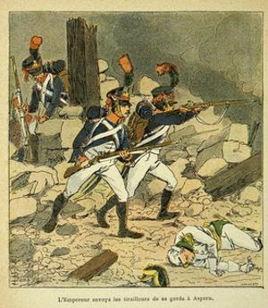 Napoleonic Wars, Battle of Essling, French Tirailleurs His Guard at Aspern by Louis Bombled