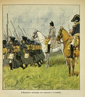 Napoleonic Wars, Emperor Napoleon Observes His Conscripts During a Battle by Louis Bombled