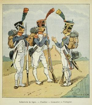 Napoleonic Wars, French Army. Line Infantry: Fusilier, Grenadier and Voltigeur by Louis Bombled