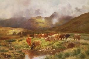 A Highland Drove at Strathfillan, Perthshire by Louis Bosworth Hurt