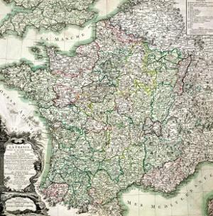 Map of France as Divided into 58 Provinces, 1765 by Louis-Charles Desnos