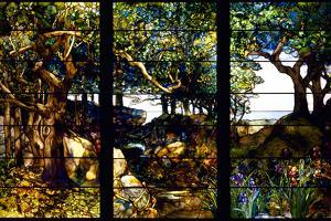A Wooded Landscape in Three Panels, C. 1905 by Louis Comfort Tiffany