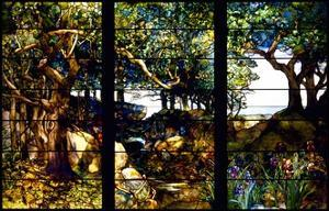 A Wooded Landscape in Three Panels by Louis Comfort Tiffany