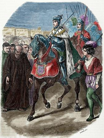 Louis XII (1462-1515) King of France Entering the City of Genoa., 1851. Coloured