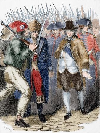 Return of Louis XVI to Paris after His Arrest at Varennes after His Escape Attempt. June 25, 1791