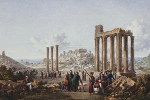 A View of the Acropolis, Athens, from the Temple of Zeus at Olympia, C.1786-87 by Louis-Francois Cassas