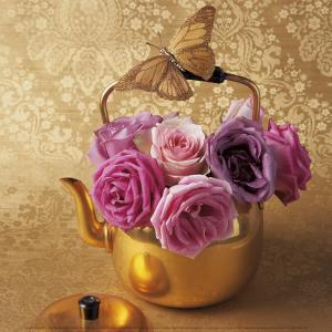 Roses, Teapot and Butterfly by Louis Gaillard