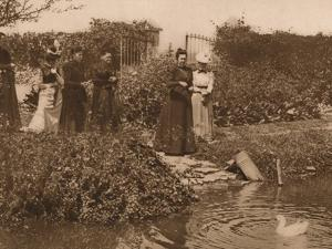'A group of women by a duck pond', 1937 by Louis Guichard