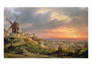 View of the Butte Montmartre, c.1830 by Louis Jacques Mande Daguerre