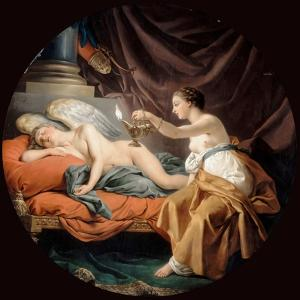 Psyche Surprising Sleeping Cupid by Louis-Jean-François Lagrenée