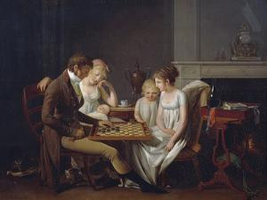 Painting of Family Game of Checkers, Ca 1803 by Louis Leopold Boilly