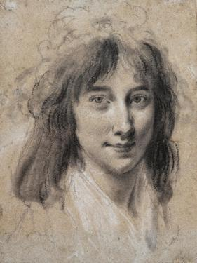 Portrait of a Young Lady (Black and White Chalk on Paper) by Louis Leopold Boilly