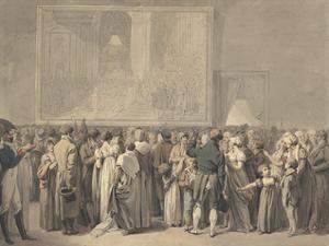 "The Public in the Salon of the Louvre, Viewing the Painting of the ""Sacre"" by Louis Leopold Boilly"