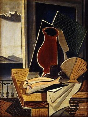 Table in Front of a Balcony; Table Devant Le Balcon, 1926 by Louis Marcoussis