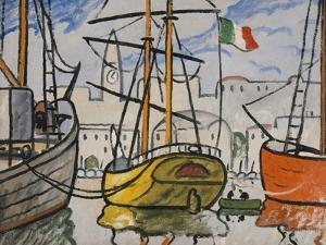 Marseille, bateaux au port, 1920 by Louis-Mathieu Verdilhan