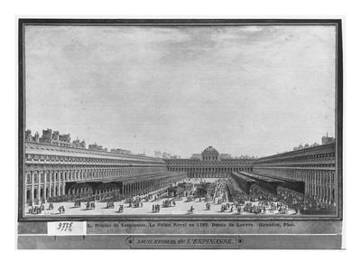 Garden of the Palais Royal, 1785 (W/C and Pen and Grey Ink on Paper)