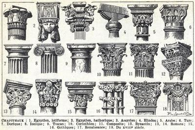 General descriptions of the main types of capitals, 1949 (litho)