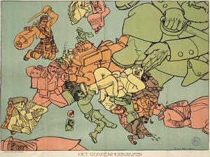 Satirical Map - The Insane Asylum by Louis Raemaekers