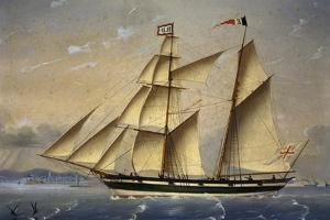 Barquentine with Flag of Holy Land, 1849 by Louis Renault