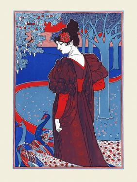 A Woman Stands Looking at Two Peacocks by Louis Rhead