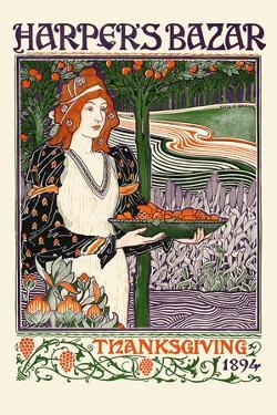 Harper's Bazar Thanksgiving 1894 by Louis Rhead