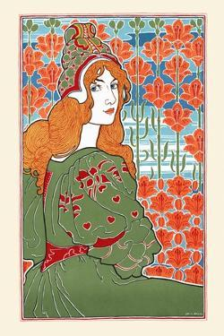 Woman Looking Over Her Shoulder With Stylized Flowers In The Background by Louis Rhead