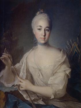 Portrait of Countess Anna Vorontsova (1743-176), Ca 1758 by Louis Tocqué