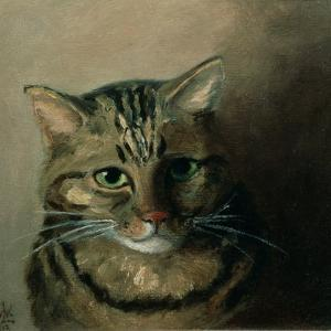 A Head Study of a Tabby Cat by Louis Wain