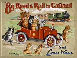 By Road and Rail in Catland, 20Th by Louis Wain
