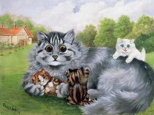 Cat and Her Kittens by Louis Wain