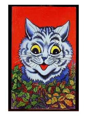 Cat in Holly by Louis Wain