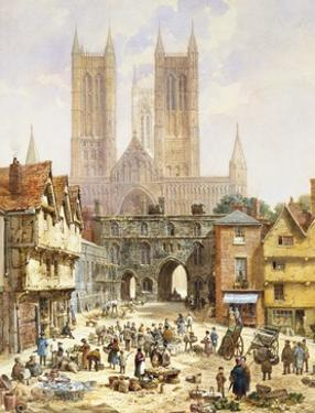 A View of Lincoln Cathedral, England by Louise J. Rayner