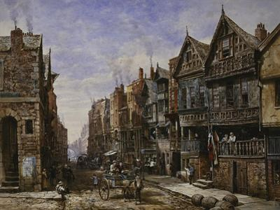 Chester: Watergate Street from the Corner of Crook Street, with Eastgate Beyond