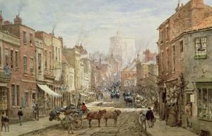 The Household Cavalry in Peascod Street, Windsor by Louise J. Rayner