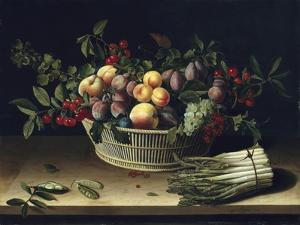 Still Life with a Basket of Fruit and a Bunch of Asparagus, 1630 by Louise Moillon