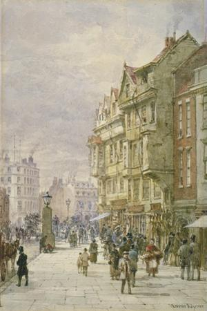 View East Along Holborn with Figures and Horse-Drawn Vehicles on the Street, London, 1875