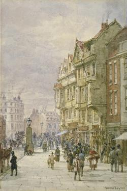 View East Along Holborn with Figures and Horse-Drawn Vehicles on the Street, London, 1875 by Louise Rayner