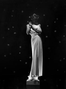 Louise Sheldon Modeling Draped Column Dress by Maggy Rouff and Jewelry by Boucheron