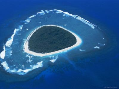 Aerial View, Reef Formation and Island, Fiji, South Pacific Islands by Lousie Murray