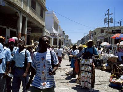 Market Scene, Downtown, Port Au Prince, Haiti, West Indies, Central America by Lousie Murray